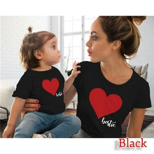 Family Mother And Daughter Matching Clothes Heart Printed T-Shirt Tops Blouse Mother Daughter Matching Clothes O-neck Fashion