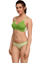 Load image into Gallery viewer, Inner Sense Organic Cotton Blended Seamless Non-Padded Lace touch Bra & Panty Set