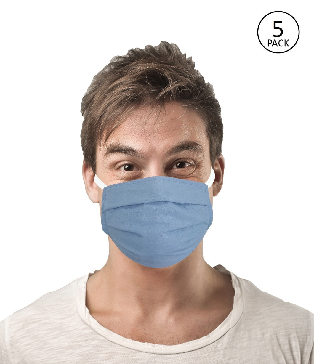 Blue Fabric Face Mask Pack of 5