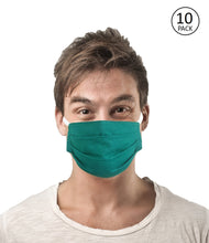 Load image into Gallery viewer, Green Fabric Face Mask Pack of 10