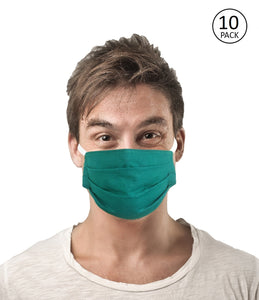 Green Fabric Face Mask Pack of 10