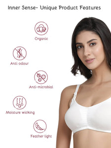 Inner Sense Organic Cotton Antimicrobial Soft Nursing Bra with Removable Pads