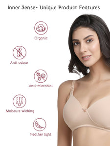 Inner Sense Organic Cotton Antimicrobial Padded Nonwired Feeding Bra