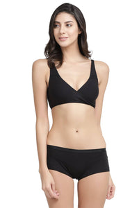 Inner Sense Black Non-Wired Non Padded Maternity Bra & Panty Set