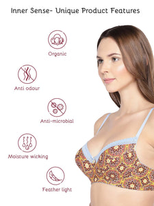 Inner Sense Organic Cotton Antimicrobial Lightly Padded Lace Touch Bra
