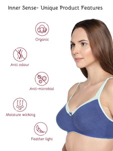 Inner Sense Organic Cotton Antimicrobial Soft Laced Bra