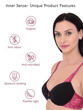Load image into Gallery viewer, Inner Sense Organic Cotton Antimicrobial Underwired Lightly Padded Lace Bra