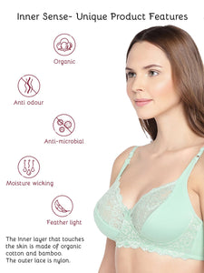 Inner Sense Organic Cotton Antimicrobial Laced non-Padded Bra