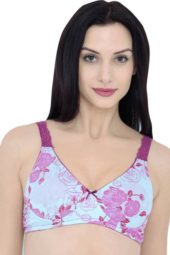 Inner Sense Organic Cotton Antimicrobial Lace Back Lightly Padded Non-wired Bra