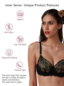 Inner Sense Organic Cotton Padded Underwired Lace Bra