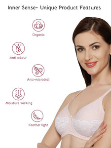 Inner Sense Organic Cotton Antimicrobial Padded Front lace Bra