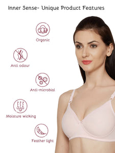 Inner Sense Organic Cotton Antimicrobial Padded Non-wired Lace touch T-shirt Bra