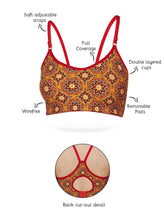 Load image into Gallery viewer, Inner Sense Organic Cotton Antimicrobial Full coverage Non-wired Boho Bralette