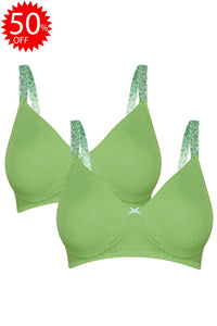 Inner Sense Organic Cotton Antimicrobial Seamless Everyday Bra(Pack of 2)