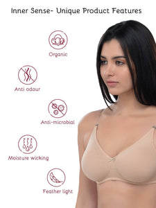 Inner Sense Organic Cotton Antimicrobial Backless Non-Padded Seamless Bra