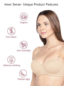Organic Cotton Antimicrobial Padded Strapless Bra