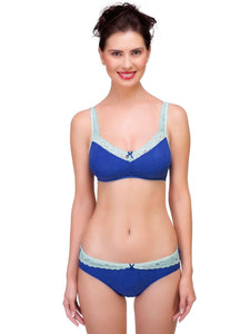Inner Sense Organic Cotton Antimicrobial Laced Soft Bra & Panty Set