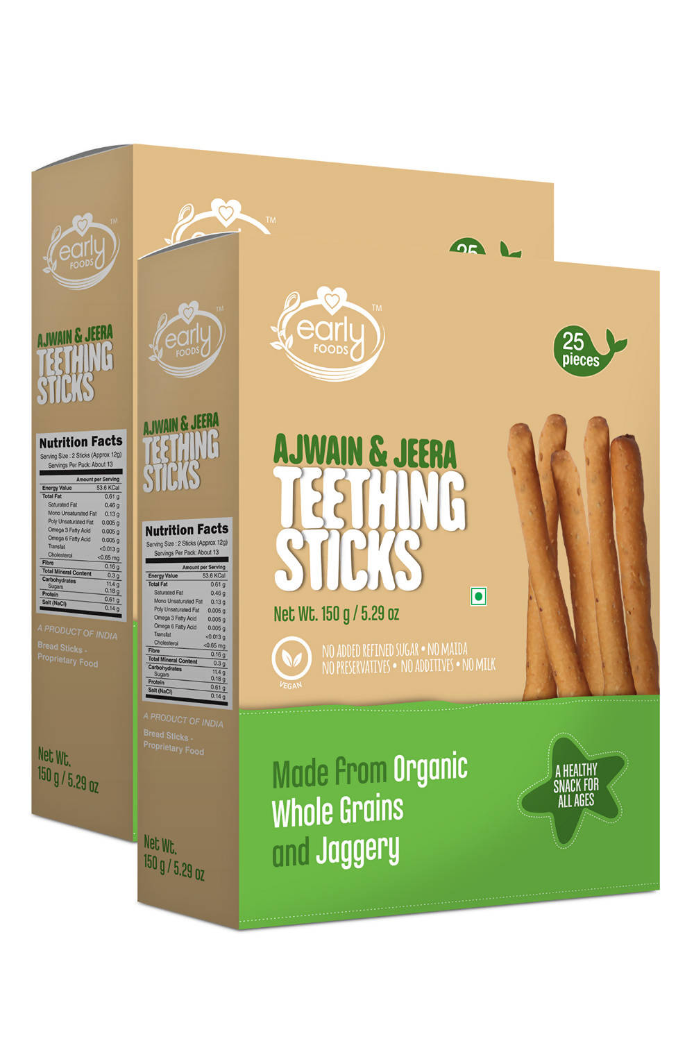 Pack of 2 - Whole Wheat Ajwain Jaggery Teething Sticks