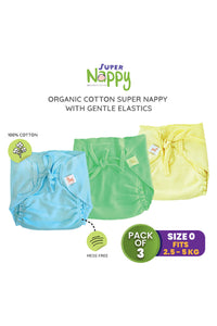 Superbottoms SuperNappy- Organic cotton nappy with Superdryfeel layer - Pack of 3 Solid