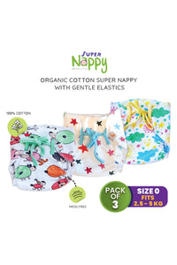 Superbottoms SuperNappy- Organic cotton nappy with Superdryfeel layer - Pack of 3 Printed