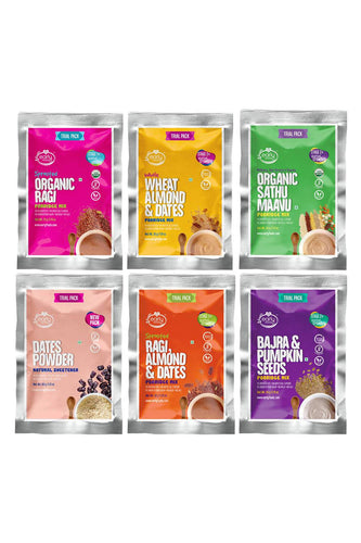 6 Trial Pack Combo (Stage 2) Organic & Fresh Porridge Mixes & Dry Dates Powder