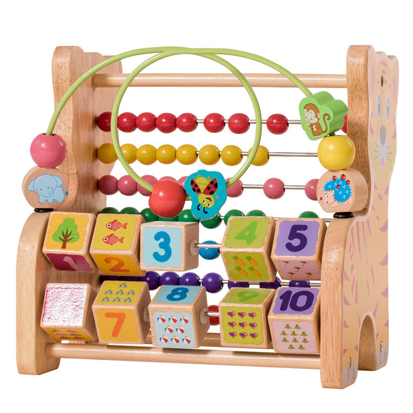 Eliiti Wooden Counting Abacus Toy with 123 Beeds for Toddlers Kids 3 to 5 Year Old Tiger Frame