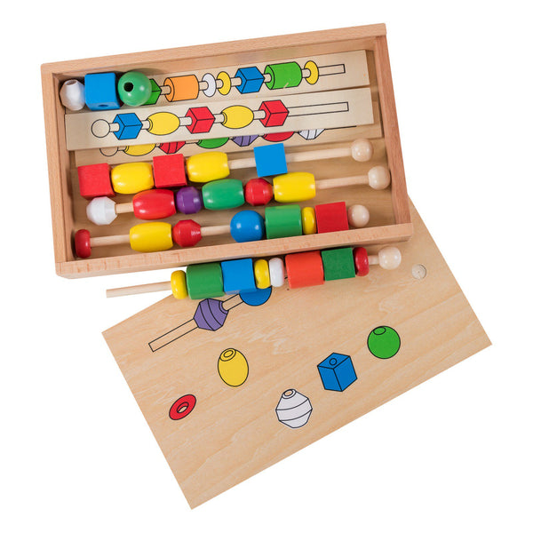 Eliiti Wooden Beads Sequencing Toys Set Puzzle for Toddlers Kids 3-5 Years Old Geometric 33 Pcs