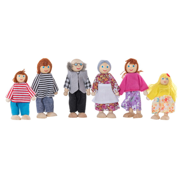 Eliiti Miniature Wooden Figures Dollhouse Pretend Play Toys for Toddlers Girls Kids 3-7 Years Old Family 6 Pcs
