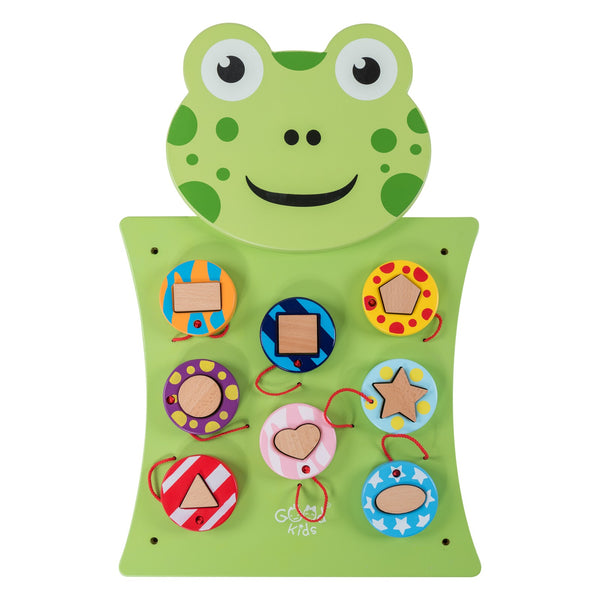 Eliiti Wall Hanging Wooden Multi-Functional Shape Sorting Puzzle for Toddlers Kids 3-6 Years Old Frog