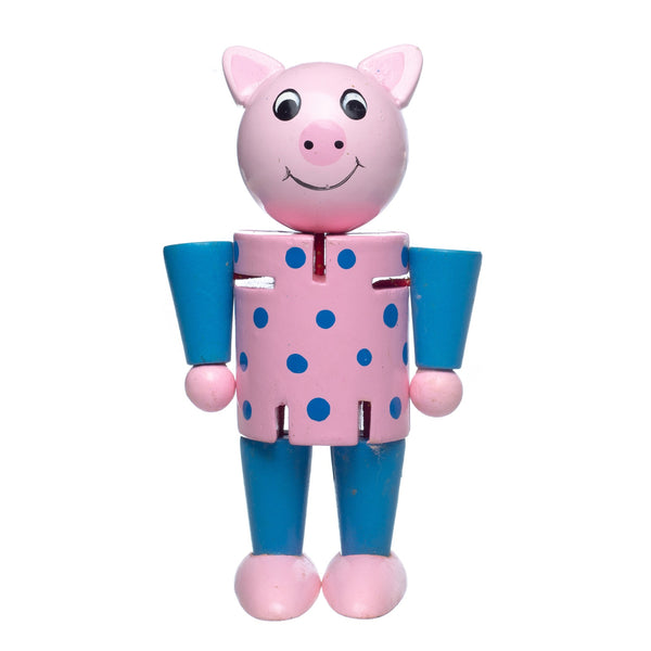Eliiti Wooden Flexible Figures Toy for Toddlers Kids 3 to 5 Years Old Pig