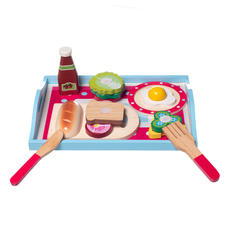 Eliiti Wooden Breakfast Pretend Food Play Educational Toy for Kids Girls 3-5 Years Old