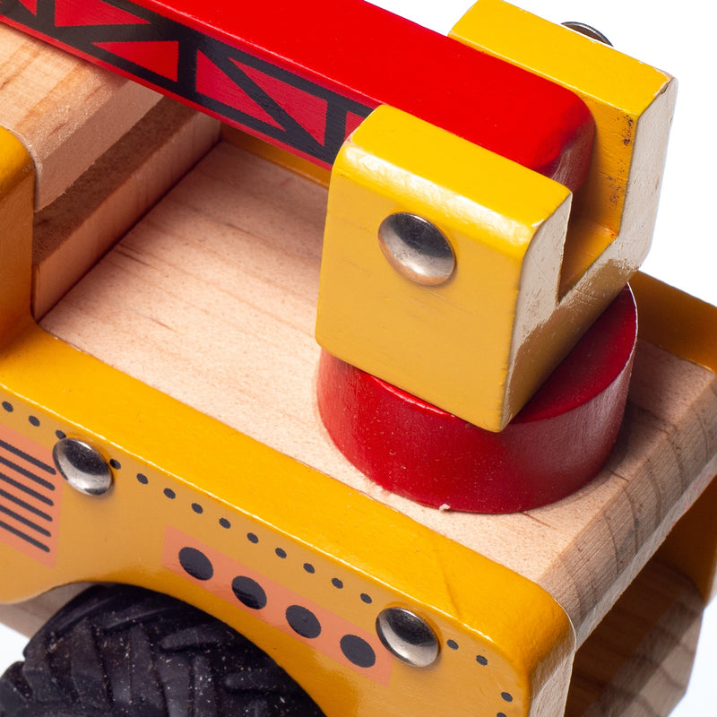 Eliiti Wooden Vehicles Crane Truck Toy for Toddlers Boys Kids 3 to 6 Years Old