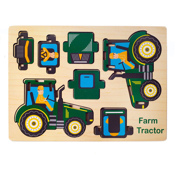 Eliiti Easy-to-Assemble Wooden Tractor 3D Vehicle Puzzle for Toddlers Boys Kids 3 to 6 Years Old 7 Pcs