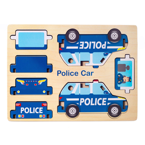 Eliiti Easy-to-Assemble Wooden Police Car 3D Vehicle Puzzle for Toddlers Boys Kids 3 to 6 Years Old 7 Pcs