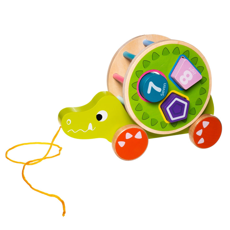 Eliiti Wooden Shape Sorting Puzzle & Pull Toy for Toddlers 1 to 2 Years Old Crocodile 5 Pcs