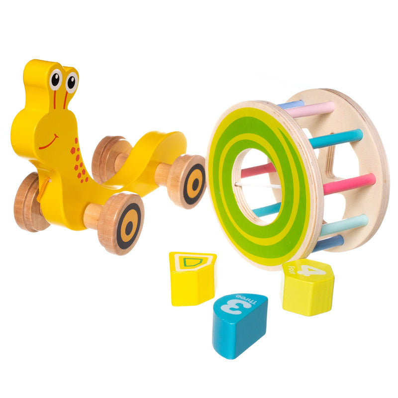 Eliiti Wooden Shape Sorting Puzzle & Pull Toy for Toddlers 1 to 2 Years Old Snail 5 Pcs