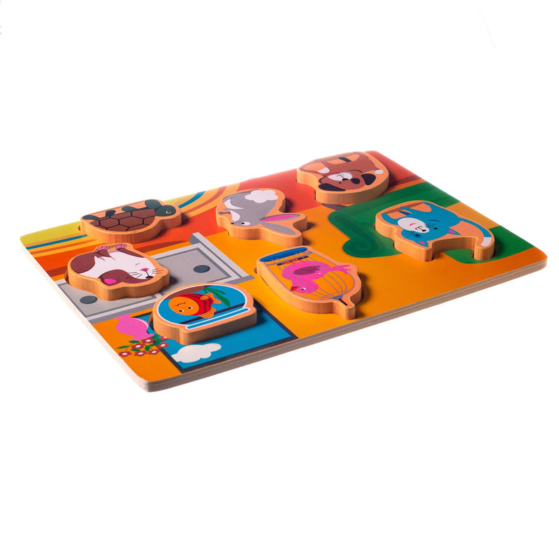 Eliiti Wooden Chunky Puzzle for Toddlers Kids 2 to 4 Years Old Pets 7 Pcs