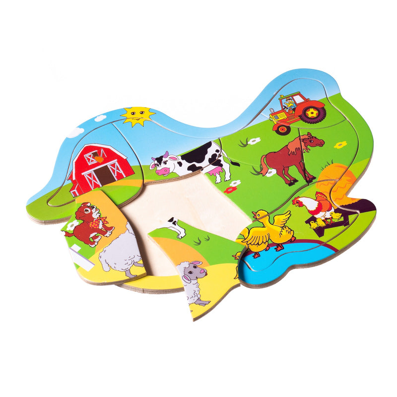 Eliiti Wooden Jigsaw Puzzle for Toddlers Kids 2 to 4 Years Old Farm Animals 9 Pcs