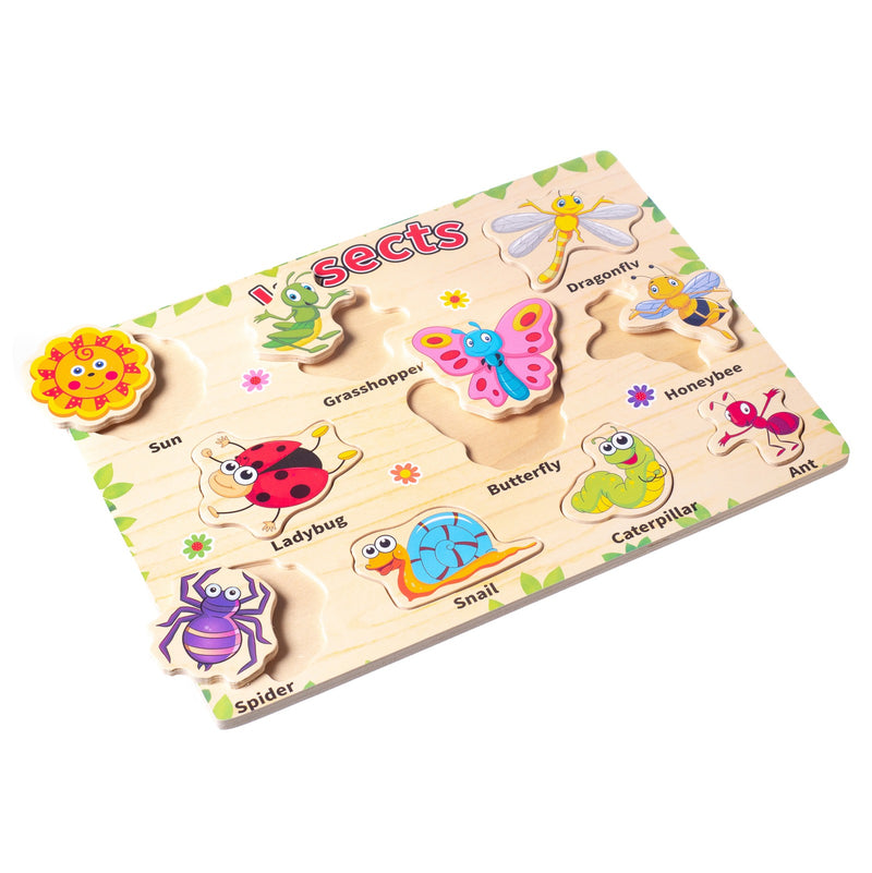 Eliiti Wooden Peg Puzzle for Toddlers Kids 3 to 6 Years Old Insects 10 Pcs