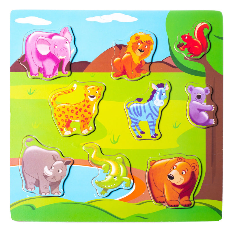 Eliiti Wooden Peg Puzzle for Toddlers Kids 2 to 4 Years Old Safari Animals 9 Pcs