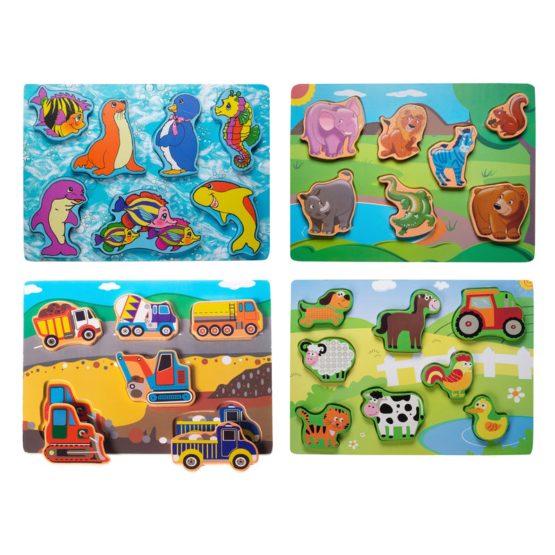 Eliiti Wooden Chunky Puzzle Set for Toddlers Kids 2 to 4 Years Old Construction Farm Safari Sea Animals
