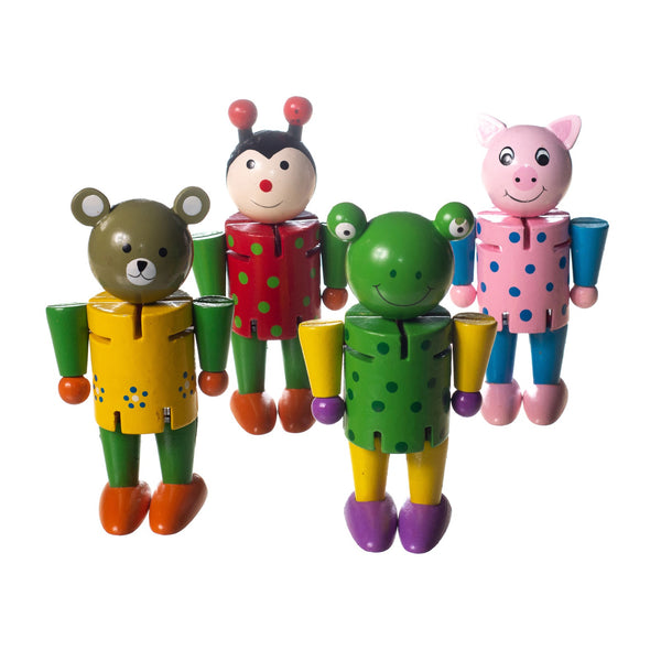 Eliiti Wooden Flexible Figures Toys Set for Toddlers Kids 3 to 5 Years Old Bear Mouse Frog Pig