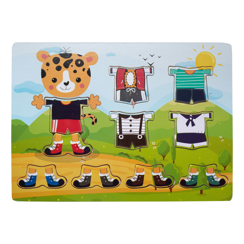 Eliiti Wooden Peg Dress Up Puzzle for Toddlers Kids 2 to 4 Years Old Leopard 10 Pcs