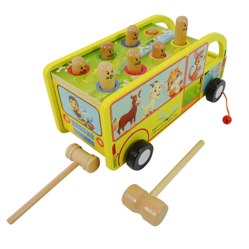 Eliiti 2-in-1 Wooden Pounding & Pull Developmental Toy with 2 Mallets for Baby Toddlers 1 to 2 Years Old Animals Bus