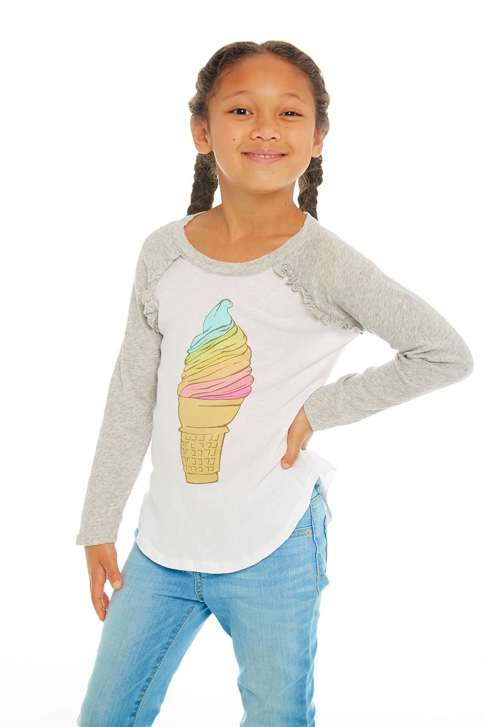 Chaser Kids Girls Rainbow Ice Cream Long Sleeve