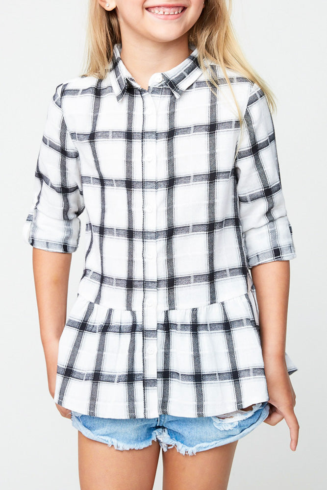 Hayden Girls Plaid Button Down