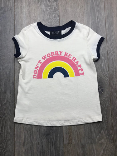 Tiny Whales Girls Don't Worry Be Happy Rainbow T-shirt