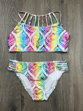 Load image into Gallery viewer, Ingear Rainbow Feather Girls Bathing Suit