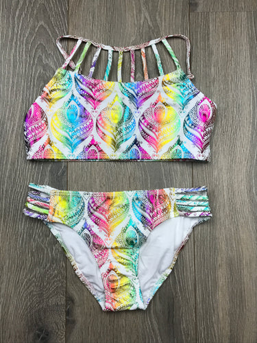 Ingear Rainbow Feather Girls Bathing Suit