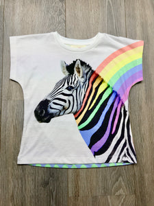 Paper Wings Girls Rainbow Zebra T-shirt